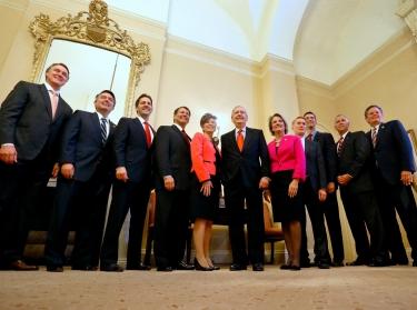 U.S. Senate Minority Leader Mitch McConnell welcomes newly elected Republican senators, November 12, 2014