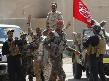 Hashid Shaabi (Popular Mobilisation) allied with Iraqi forces against the Islamic State, preparing to attack Tikrit March 26, 2015