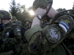 Estonia's Defence League volunteer soldiers attend training drill near Rabasaare, Estonia, September 12, 2015
