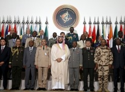 Saudi Defense Minister Prince Mohammed Bin Salman (center) poses with chiefs of staff of the Islamic Military Alliance to Fight Terrorism in Riyadh, March 27, 2016