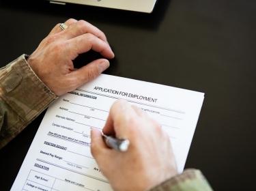 Veteran filling out job application
