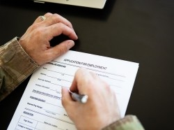 Veteran filling out job application