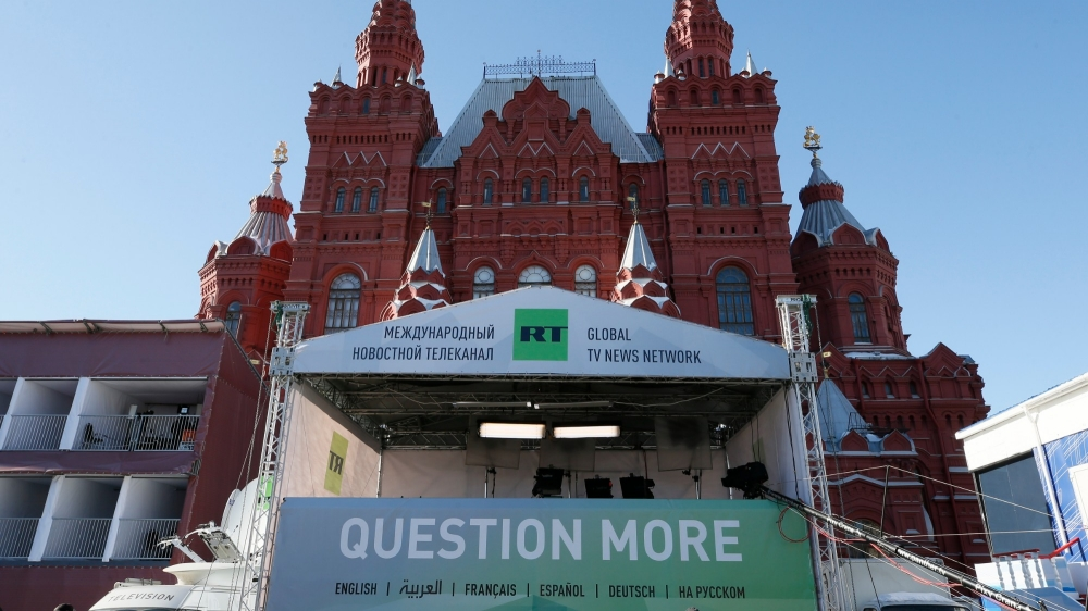 The logo of state-controlled broadcaster Russia Today (RT) is seen in front of the State Historical Museum at Red Square in central Moscow, March 18, 2018, photo by Gleb Garanich/Reuters