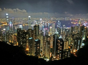 The Hong Kong skyline at night