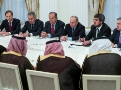 Russian President Vladimir Putin attends a meeting with Saudi Deputy Crown Prince and Defence Minister Mohammed bin Salman at the Kremlin in Moscow, Russia, May 30, 2017