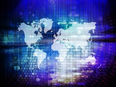 World map on abstract technology background