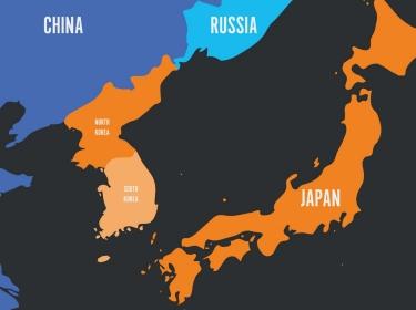 Map of the Korean Peninsula and Japan