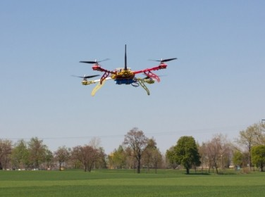 A quadrocopter being flown over a field