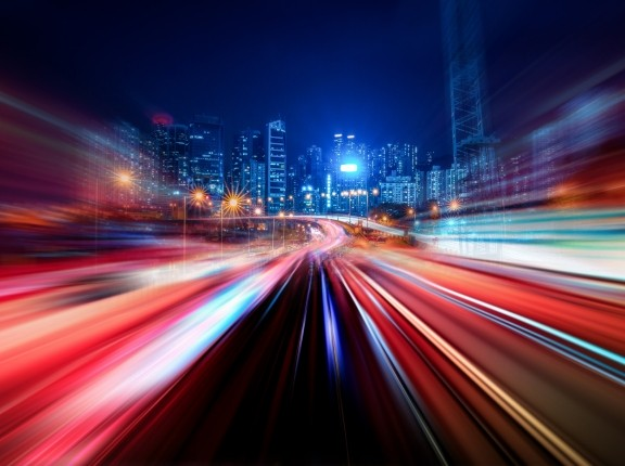 Abstract motion speed light with night city background