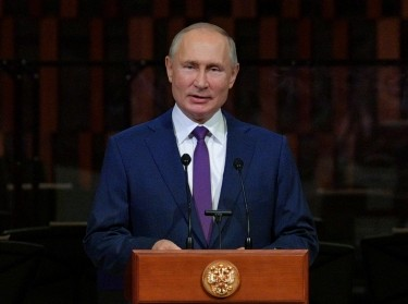 Russian President Putin addresses the audience during Moscow City Day celebrations in Moscow, Russia, September 5, 2020, photo by Sputnik/Alexei Druzhinin/Kremlin via Reuters
