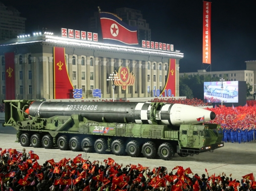 North Korea displays what appears to be its largest intercontinental ballistic missile during a parade to mark the 75th anniversary of the founding of its ruling Workers' Party, October 10, 2020