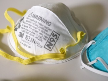 An N95 respirator mask at a laboratory in Maplewood, Minnesota, March 4, 2020, photo by Nicholas Pfosi/Reuters