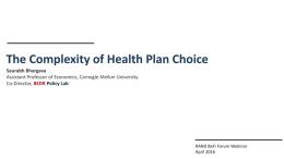 RAND Behavioral Finance Webinar: The Complexity of Health Plan Choice