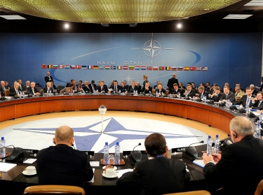 U.S. Defense Secretary Robert M. Gates meets with the other NATO Ministers of Defense and of Foreign Affairs