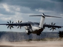 RAF A400M Atlas transport aircraft carrying out a series of spectacular test landings and take offs on a beach, UK MOD photo by Andrew Linnett/Open Government Licence