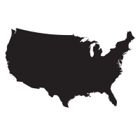 Black silhouette of the United States