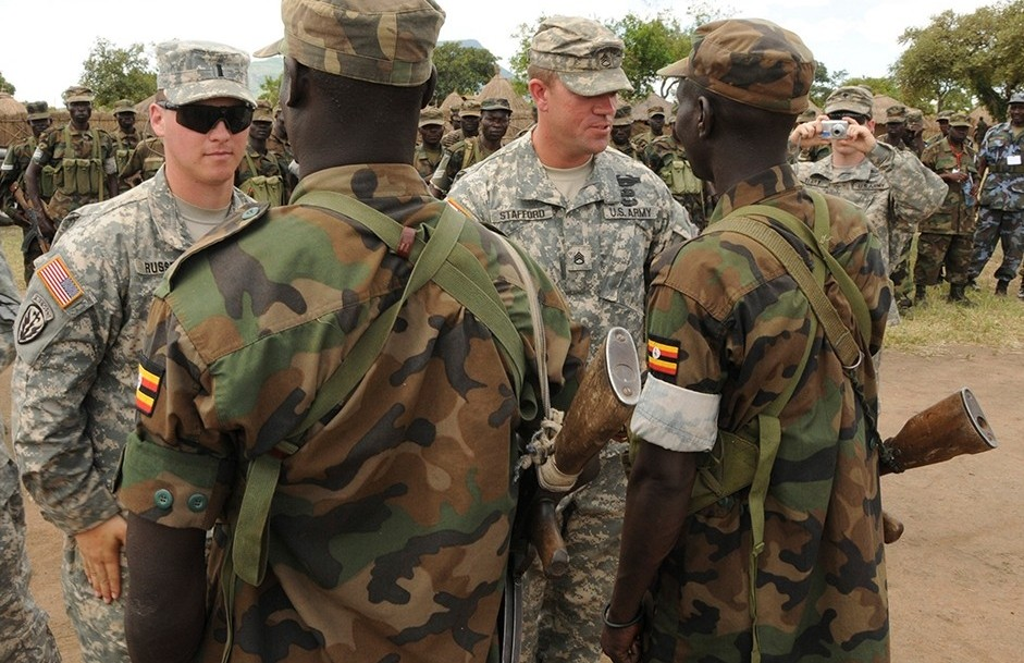 U.S. Army soldiers are seen with Uganda People's Defence Force soldiers at the closing ceremony for operation ATLAS DROP 11