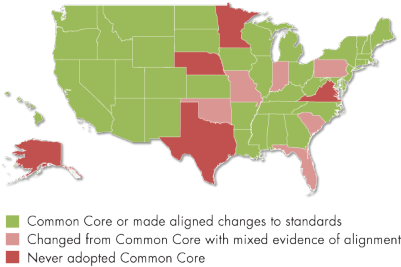 Figure 1. States That Did and Did Not Adopt the Common Core, and States That Changed from Common Core to Other Standards, as of 2017