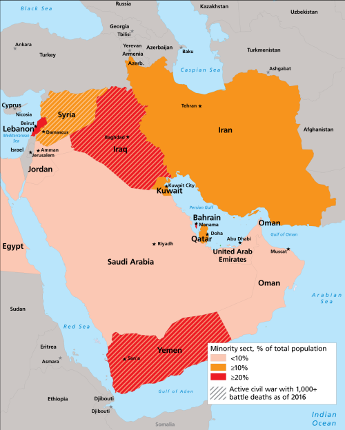 Orta Doğu'da mezhepçi  gerilimin yaşandığı ülkeler