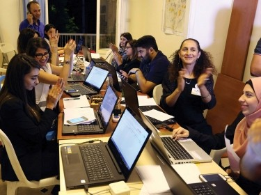 Beirut Madinati candidates and delegates cheer