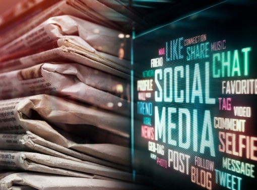 Newspapers and social media terms in LED display, photo by artisteer/Getty Images and phive2015/Adobe Stock
