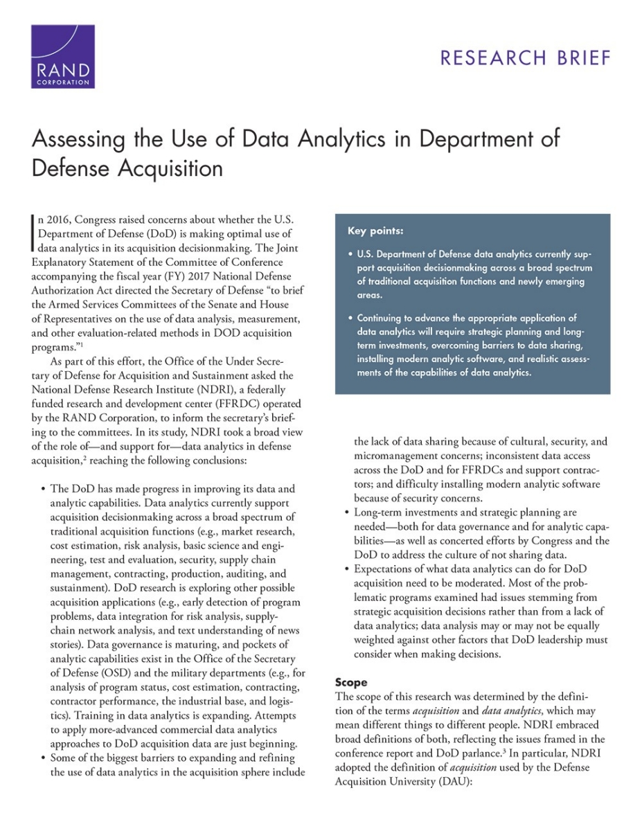 Assessing The Use Of Data Analytics In Department Of Defense