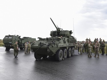 Representatives of 28 countries tour the Grafenwoehr training facilities and a live-fire demonstration of the XM1296 Stryker Infantry Carrier Vehicle-Dragoon, in Grafenwoehr, Germany, September 2018, photo by Markus Rauchenberger/U.S. Army