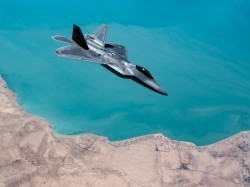 An F-22 Raptor conducts a combat air patrol mission over an undisclosed location in Southwest Asia, September 13, 2019, photo by MSgt. Russ Scalf/U.S. Air Force