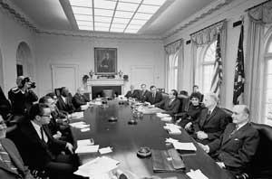 The President's Commission on an All-Volunteer Force (the Gates Commission) meeting with President Nixon in the Cabinet Room on Saturday, February 21, 1970.