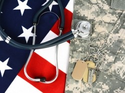dog tags, american flag, stethoscope, and camouflage