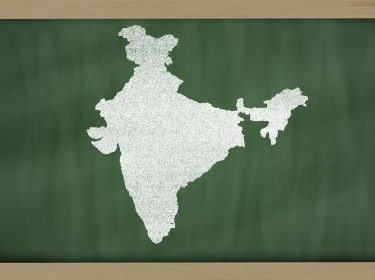 india map on blackboard