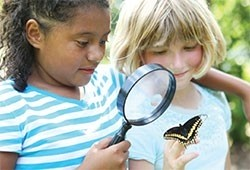 Two girls look at a butterfly through a magnifying glass.