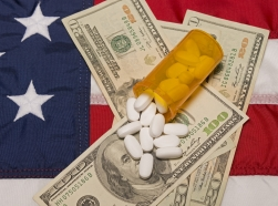 pills and money on American flag