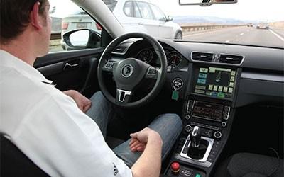 Interior of an autonomous test vehicle.