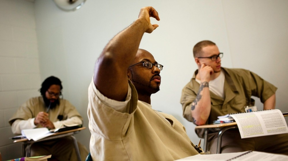 Inmates take part in an English class offered by Wesleyan University