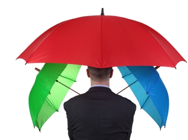insurance, umbrella, business, insurance agent, red, protection, man, businessman, shielding, concepts, safety, ideas, people, one person, isolated, hiding, green, blue, standing, rear view, covering, suit, below, holding, success, occupation, planning, security, rain, business person, r