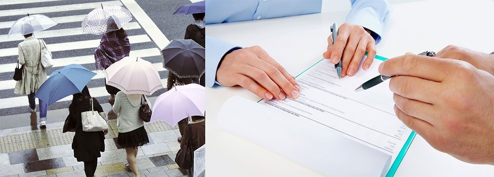Left picture shows people with umbrellas walking across a street; Right picture shows the hands of two people reviewing a contract.
