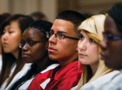 A group of New Haven, Connecticut students listen to lecture
