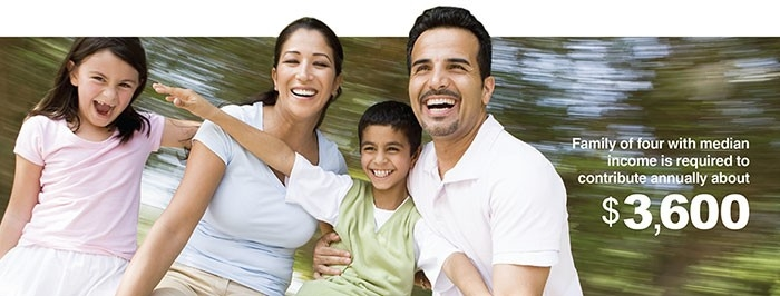 Family of four with median income is required to contribute annually about $3,600.