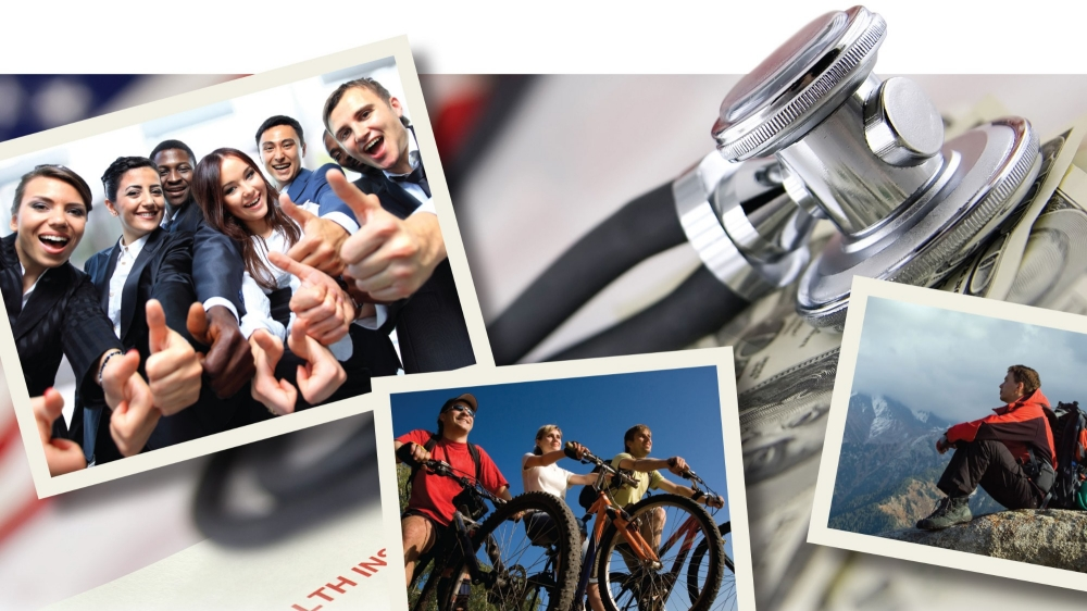 A stethoscope lies on top of cash and a health insurance claim form with three photos of young people in the foreground..