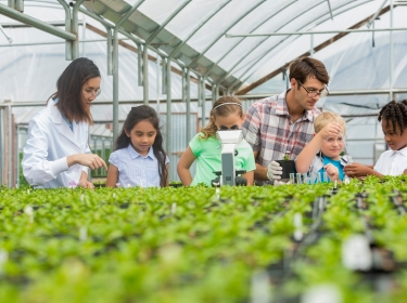 Teachers and students on a science class field trip in a greenhouse