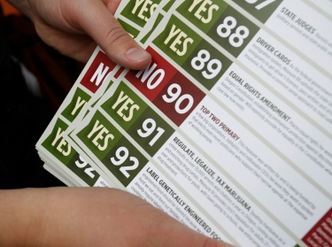 Canvassers leave flyers to drum up support for Oregon's Measure 91, which would legalize recreational marijuana use, in Portland, October 28, 2014
