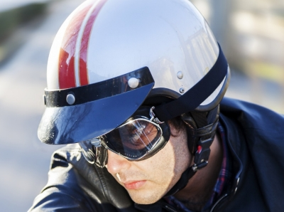 Motorcyclist checking his rear view mirror, motorcycle man, rider, cruiser, helmet, young adult, biker, bike, motorcycle, biking, clothing, leisure, gear, engine, sunglasses, view, chrome, adult, vintage, casual, people, one person, vehicle, protection, transport, lifestyle, riding, safety, caucasian, outdoors, transportation, sky, motorbike, hobby, journey, metal, asphalt, posing, relaxation, leather jacket