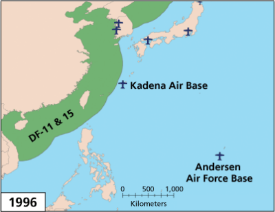 PLA Missile Threats to Bases in the Western Pacific, 1996