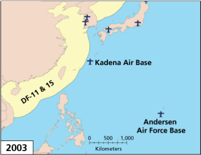 PLA Missile Threats to Bases in the Western Pacific, 2003