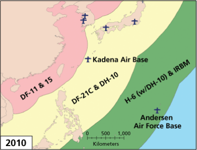 PLA Missile Threats to Bases in the Western Pacific, 2010