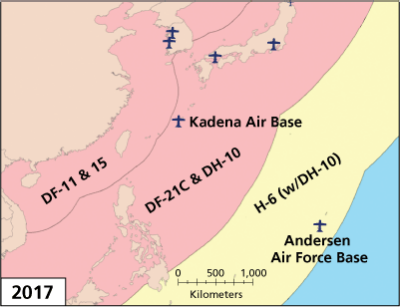 PLA Missile Threats to Bases in the Western Pacific, 2017