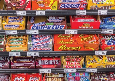 A large selection of candy bars