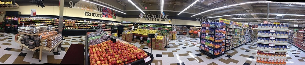Panoramic view of a new grocery store