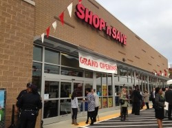 The grand opening of a Shop 'n Save grocery store in the Hill District neighborhood of Pittsburgh, October 2013